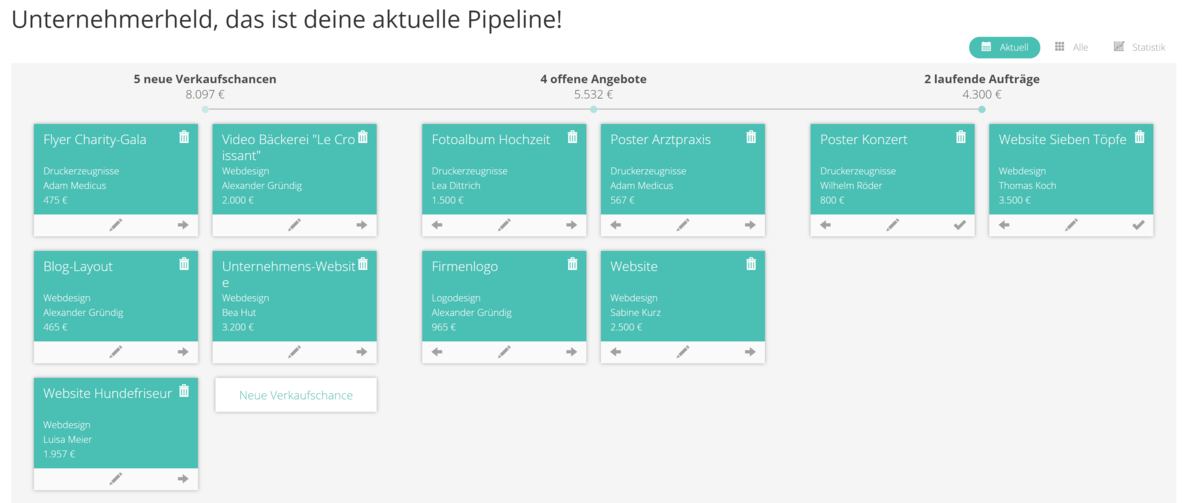 To-Do-Pipeline in der CRM-Software